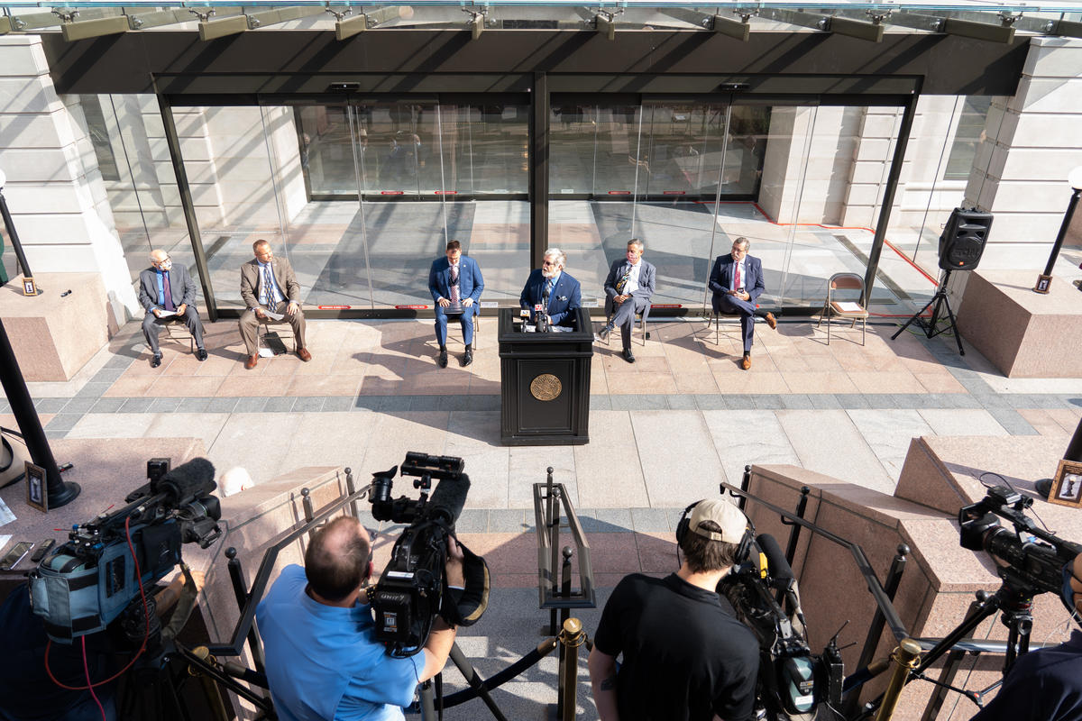 Senate Appropriations Chair Roger Thompson, a member of the Capitol Repair Expenditure Oversight Committee since 2016, called the opening of the new visitor entrance a victory for the people of Oklahoma during Wednesday's ribbon cutting ceremony.