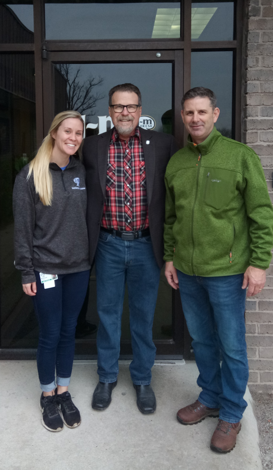 Senator Micheal Bergstrom, R-Adair, accompanied by Scott Englebrecht and McKinzie Koons from J-M Mushroom Farms, toured the farm facility on January 16, 2019.