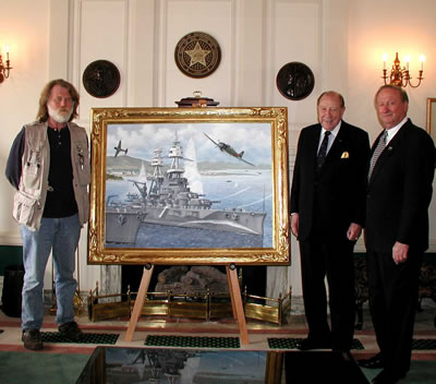 OKC Artist R. T. Foster, Admiral William J. Crowe, Jr., and Senator Charles Ford with the painting of the attack of the Battleship Oklahoma at Pearl Harbor.