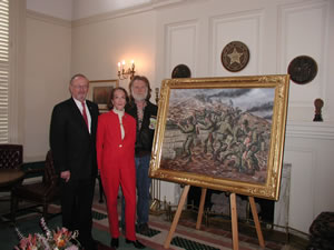 Senator Ford, Betsy Daugherty, who presented the painting on behalf of her husband, Fred, and artist R.T. Foster.