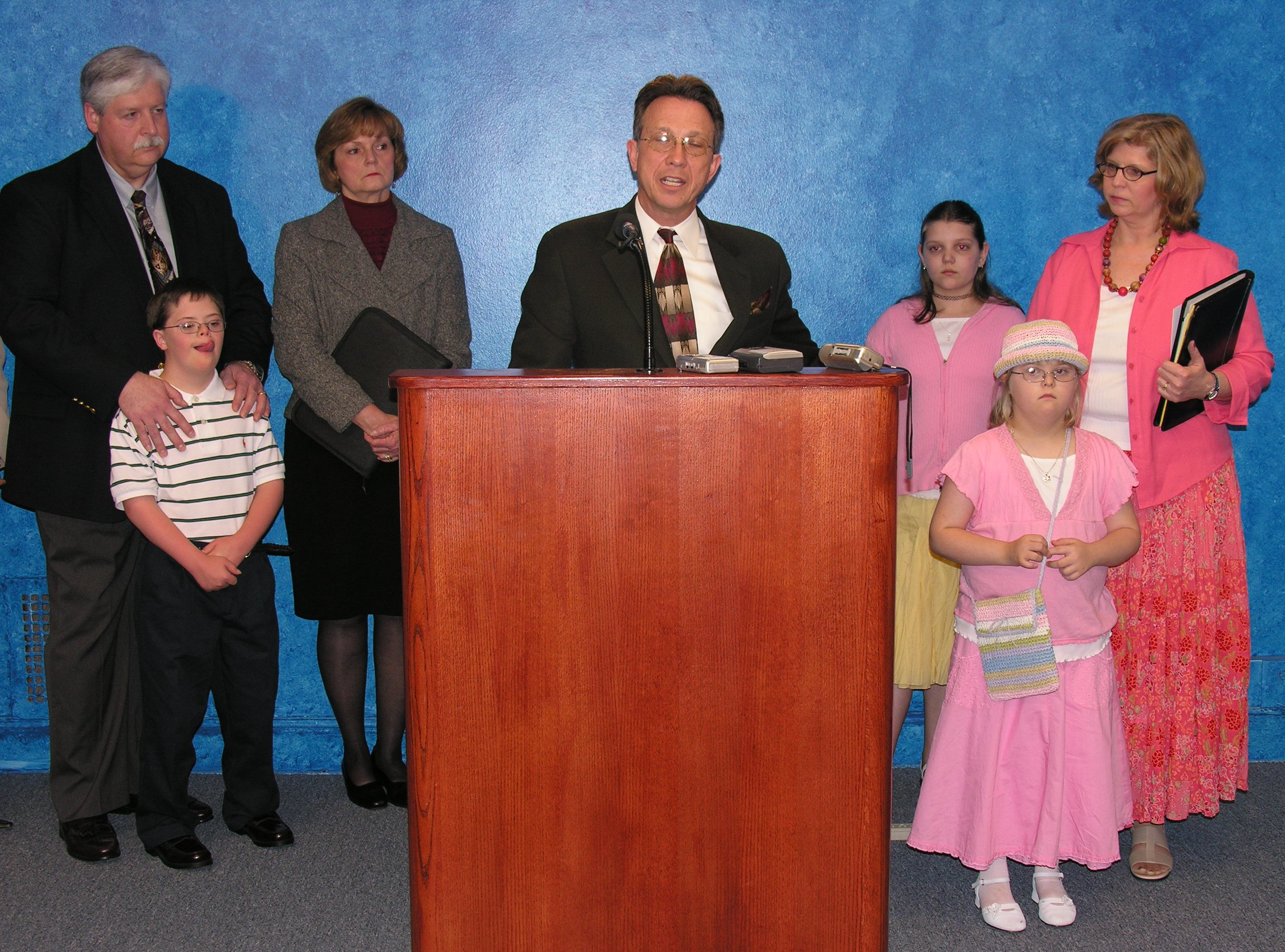 Sen. James Williamson and family members of children with Down syndrome spoke in support of SB 714 on Tuesday.