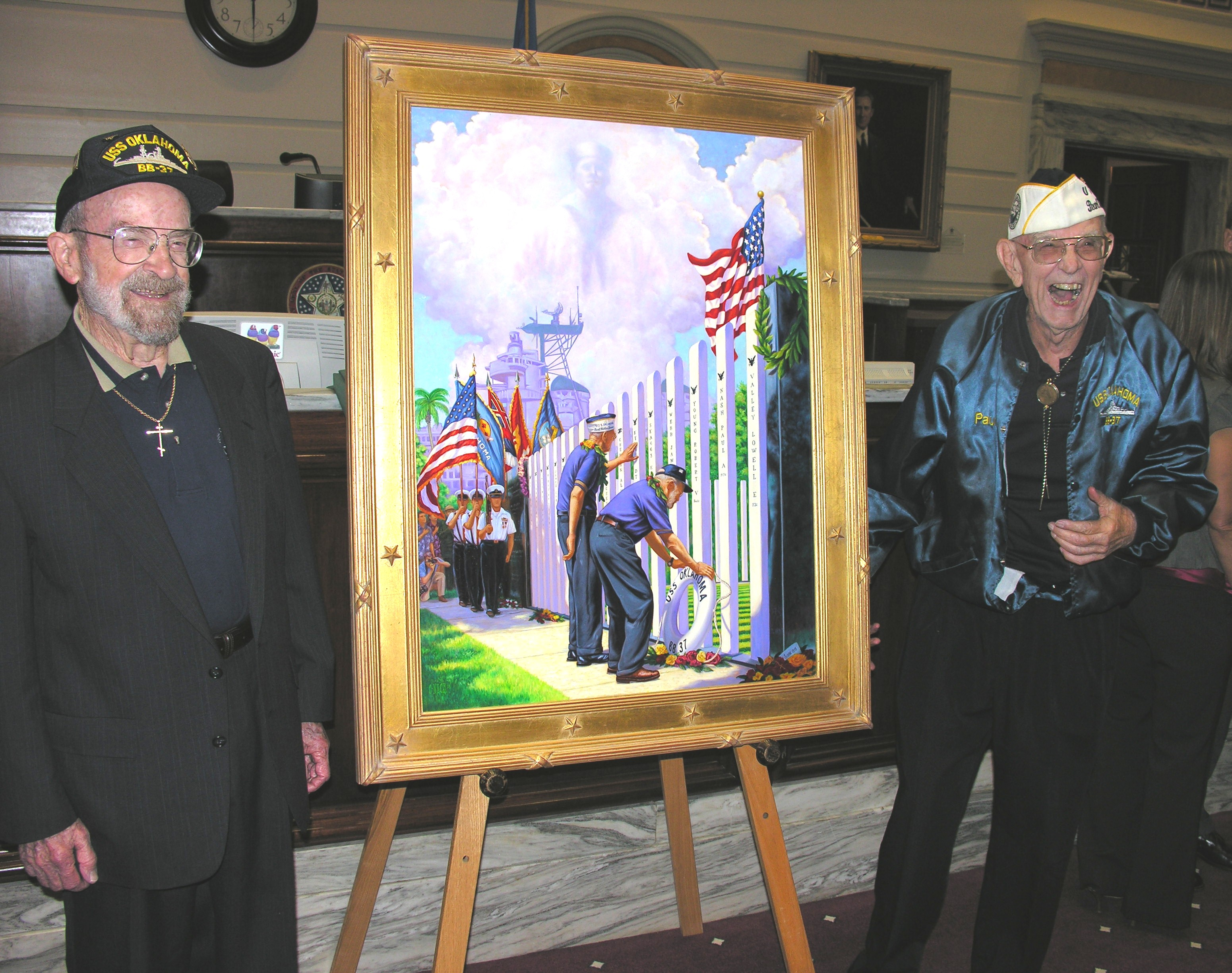 USS Oklahoma survivors Ed Vezey and Paul Goodyear with painting of the 2007 dedication.