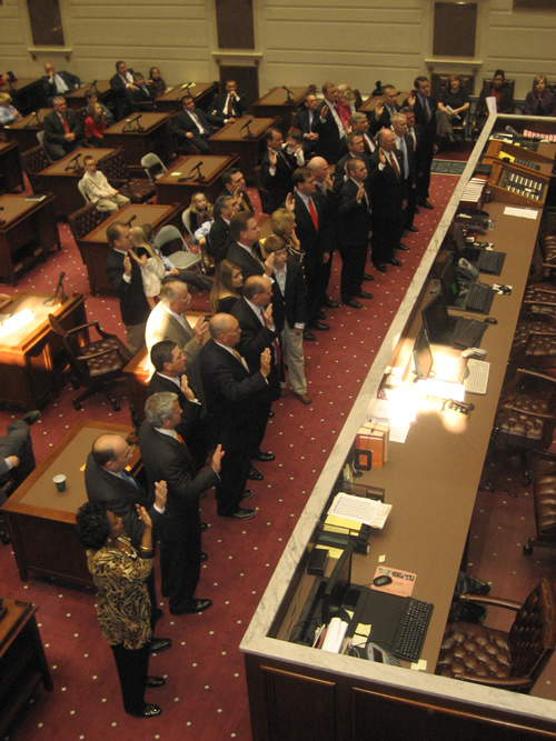 New and returning members of the Senate were sworn in Tuesday in the Senate Chamber.