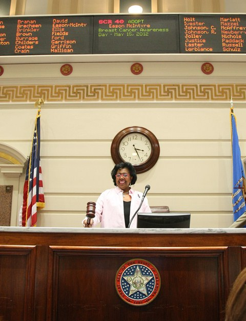 Sen. Judy Eason McIntyre presides over the Senate during the consideration