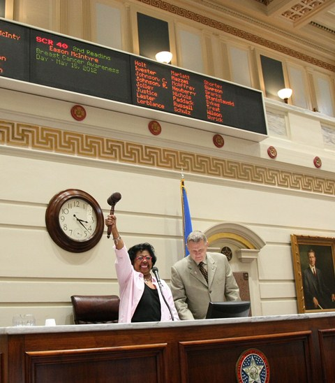 Breast cancer survivor, Sen. Judy Eason McIntyre celebrates passage of SCR 40.