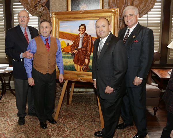 Former Sen. and Preservation Fund President Charles Ford poses with artist Christopher Nick and portrait sponsors Chickasaw Nation Governor Bill Anoatubby and State Rep. Ray McCarter.