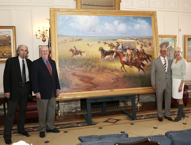 "(Pictured L-R) Artist Wayne Cooper and State Senate Historical Preservation Fund president Charles Ford pose with ""Land Run of 1889"" painting sponsors Brad and Valerie Naifeh."