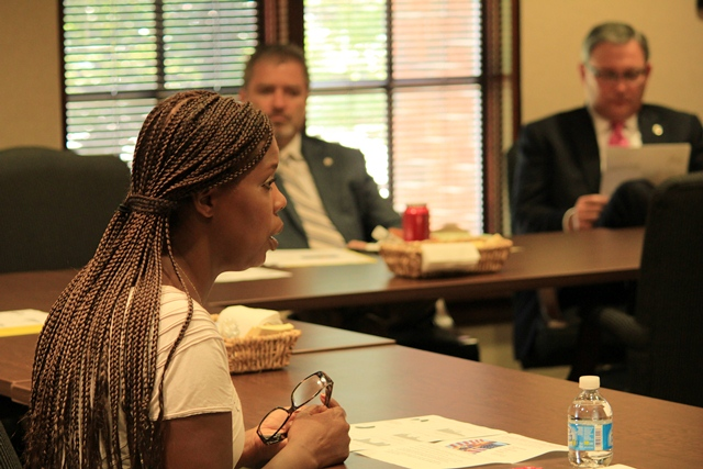 Social policy consultant Star Parker speaks on welfare reform alongside Sen. Rob Standridge (R-Norman) and Rep. Tom Newell (R-Seminole) at a recent OCPA forum.