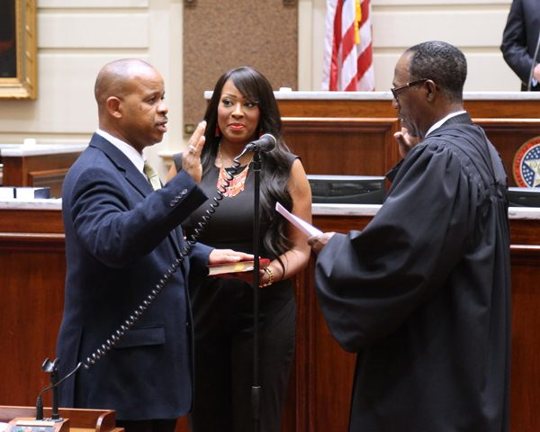 Oklahoma Supreme Court Justice Tom Colbert administers the Oath of Office to Sen. Kevin Matthews who won the Senate District 11 seat in a special election.