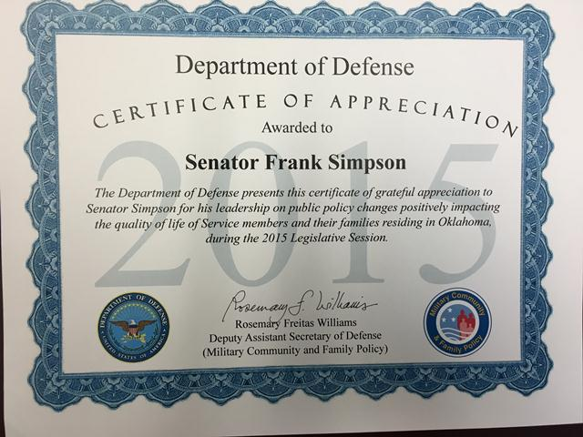 The U.S. Department of Defense honored Sen. Frank Simpson for his support of legislation to help Oklahoma veterans and their families.