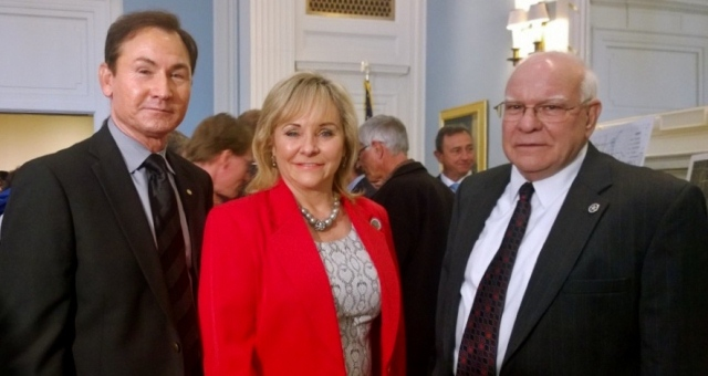 Sen. Ron Sharp, Gov. Mary Fallin, and Transportation Sec. Gary Ridley at the state Capitol Thursday  where an $800 million transportation project was announced which includes a new spur connecting I-40 in eastern Oklahoma County to the Turner Turnpike.