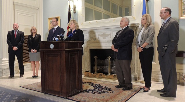 Gov. Mary Fallin and legislative leaders discuss revenue agreement at Capitol press conference Tuesday afternoon.